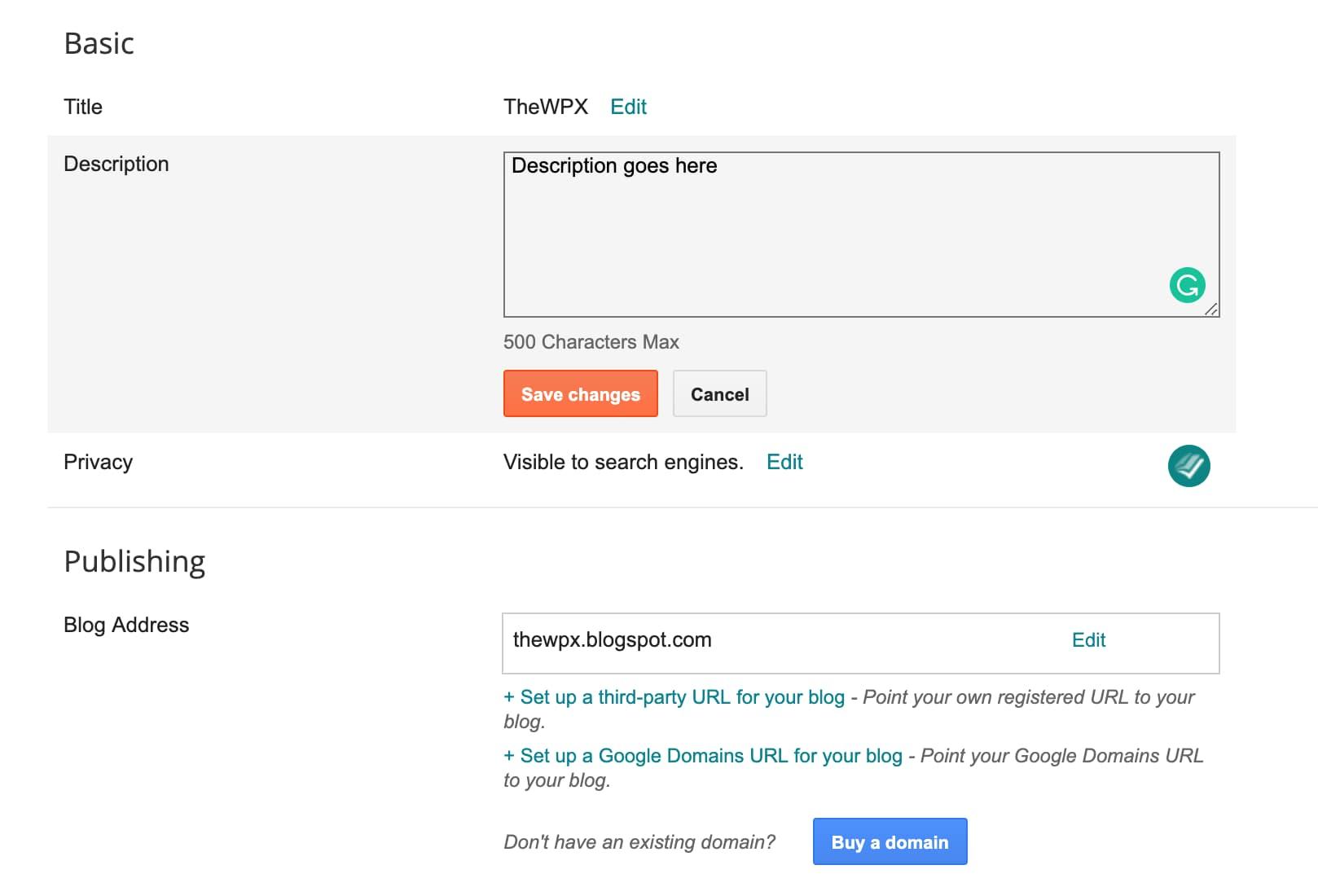 blog description, blog description examples, blogger description, example of a blog, what is search description in blogger