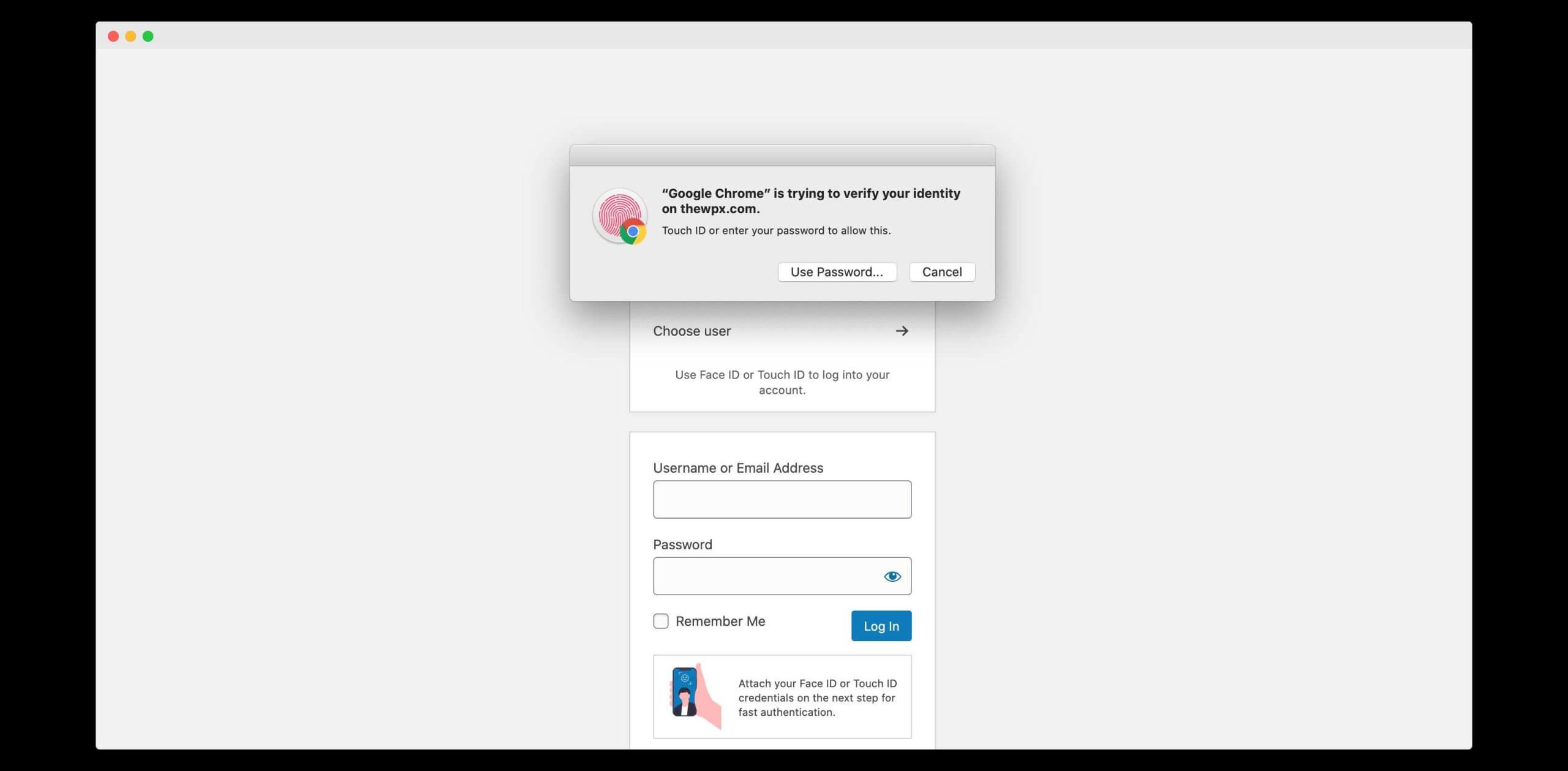 passwordless login in wordpress using touch id