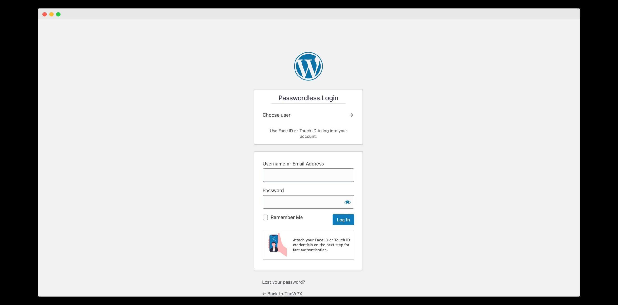 wordpress login with passwordless wp