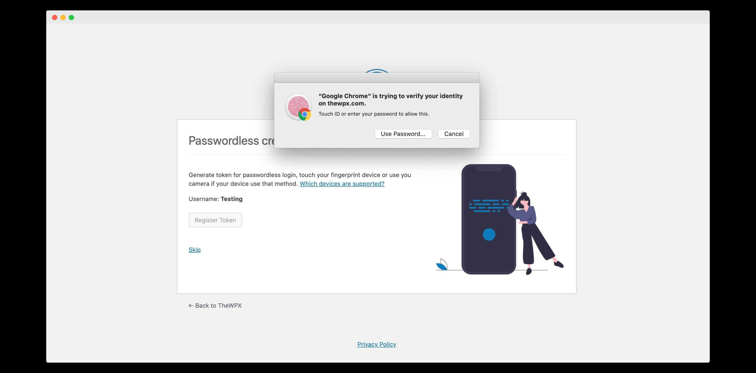 enabling passwordless authentication with touch id on my device