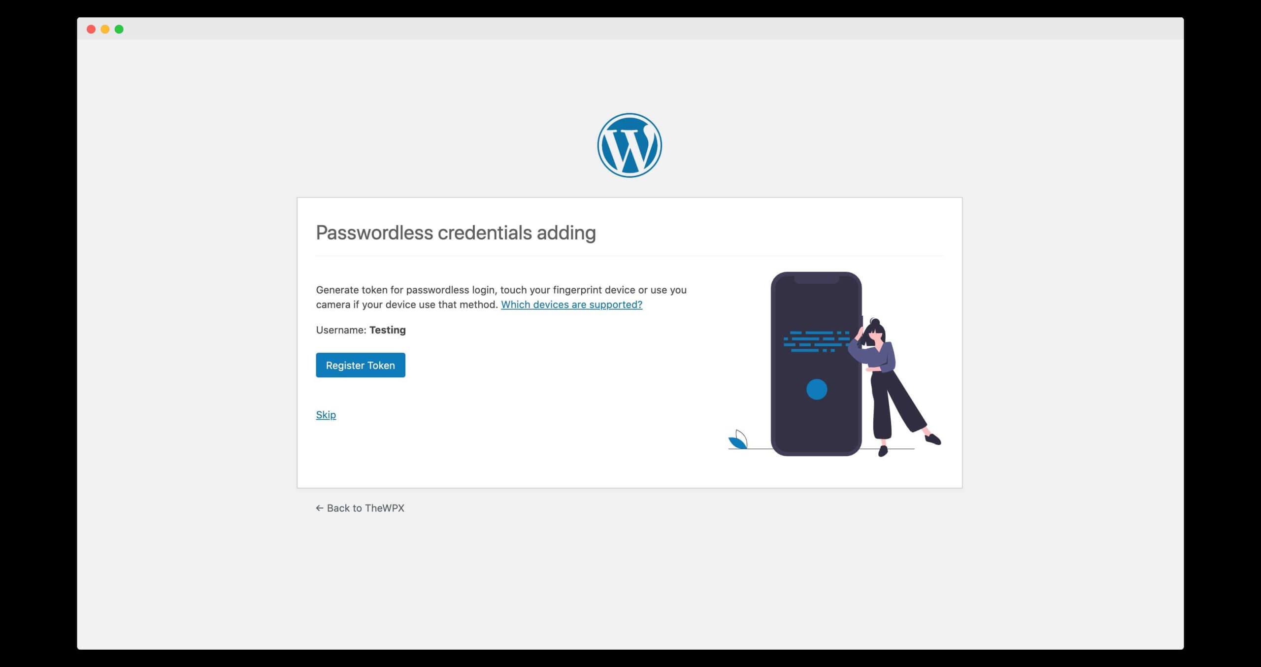 registering token for passwordless authentication