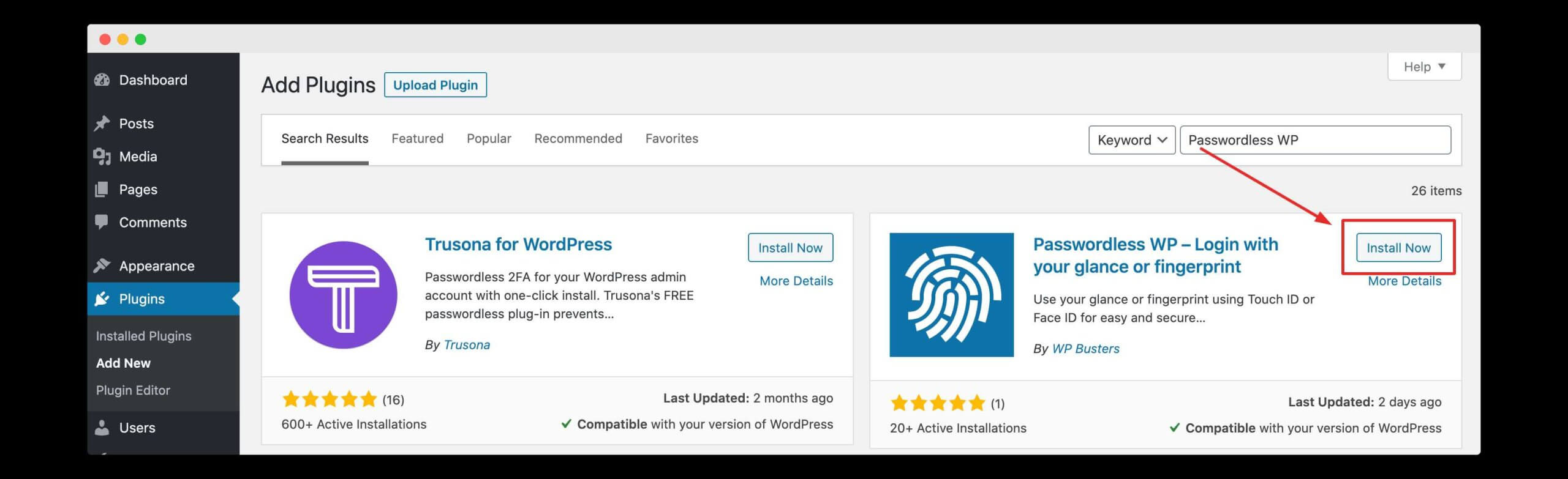 """searching for the """"passwordless wp"""" plugin on wordpress"""