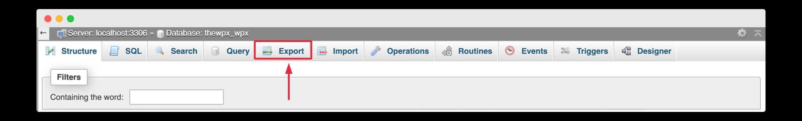 exporting database using phpmyadmin