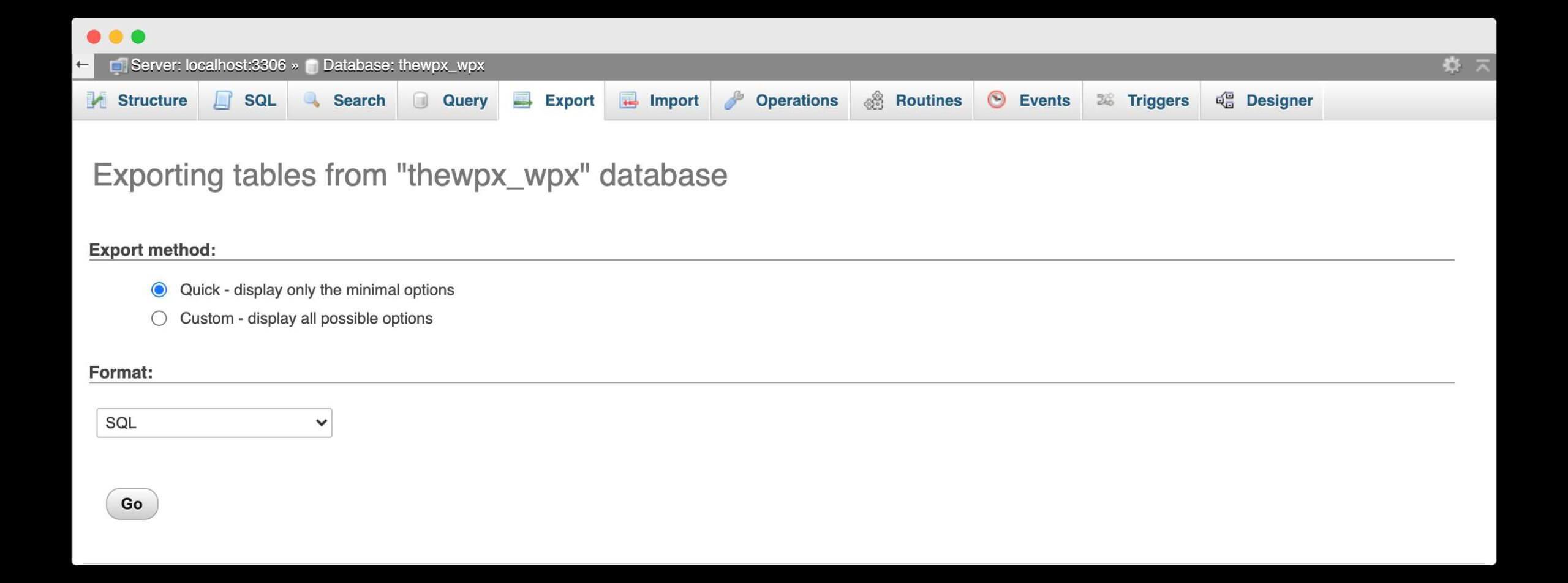 exporting database of dummy website