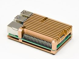 Aluminium Heatsink Case for Raspberry Pi 4 – Gold