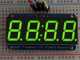 "Adafruit 0.56"" 4-Digit 7-Segment Display w/I2C Backpack - Green"