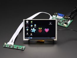 "HDMI 4 Pi: 5"" Display (w/Touch) 800x480 - HDMI/VGA/NTSC/PAL"