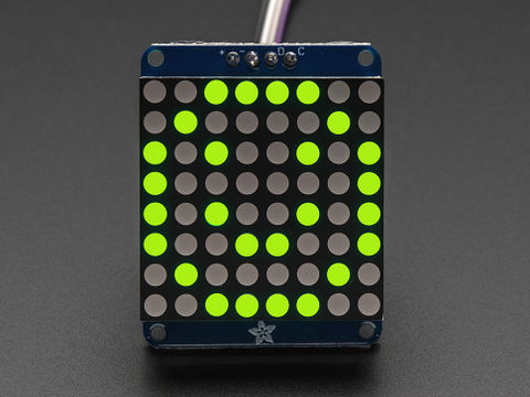 "Adafruit Small 1.2"" 8x8 LED Matrix w/I2C Backpack - Yellow-Green"