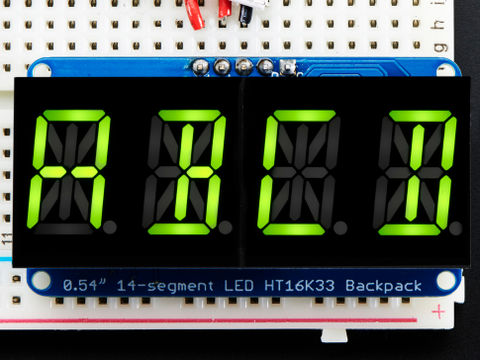 "Quad Alphanumeric Display -Yellow-Green 0.54"" Digits w/ Backpack"