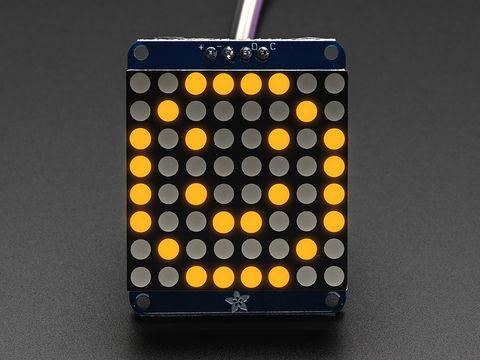 "Adafruit Small 1.2"" 8x8 LED Matrix w/I2C Backpack - Yellow"