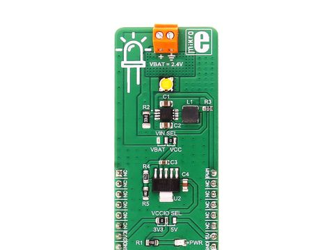 Mikroe LED driver 2 click w/ MCP1643 Constant Current Regulator
