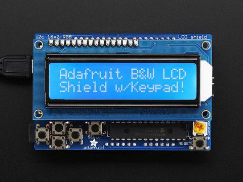 LCD Shield Kit w/ 16x2 Character Display - Using 2 pins