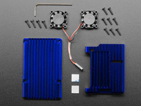 Raspberry Pi 4 Aluminum Case with Dual Fan - Blue