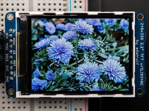 """2.2"""" 18-bit color TFT LCD display with microSD card breakout"""
