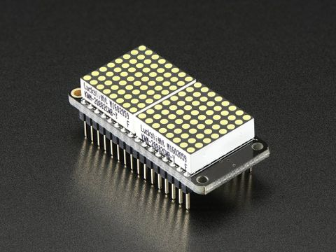 "Adafruit 0.8"" 8x16 LED Matrix FeatherWing Display Kit - White"