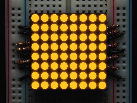 "Small 1.2"" 8x8 Ultra Bright Yellow-Orange LED Matrix - KWM-30881CUYB"