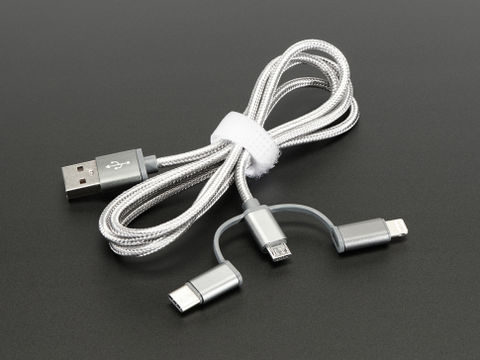 USB 3-in-1 Sync and Charge Cable - Micro B / Type-C / Lightning