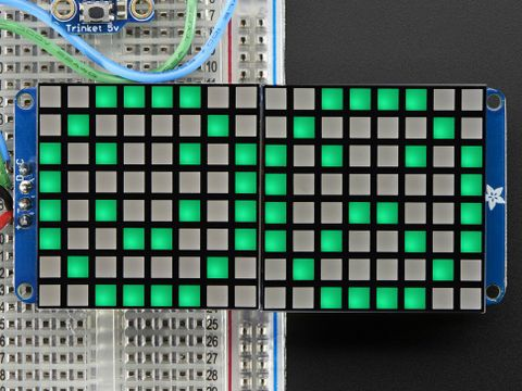 "16x8 1.2"" LED Matrix + Backpack - Ultra Bright Square Green LEDs"