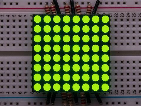 """Small 1.2"""" 8x8 Ultra Bright Yellow-Green LED Matrix - KWM-30881CUGB"""