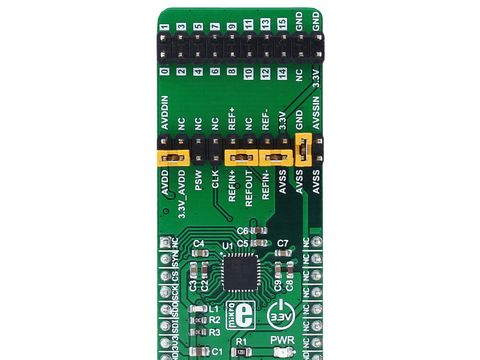 Mikroe ADC 6 click - 8 Channel 24 bit Analog to DIgital Converter - AD7124-8