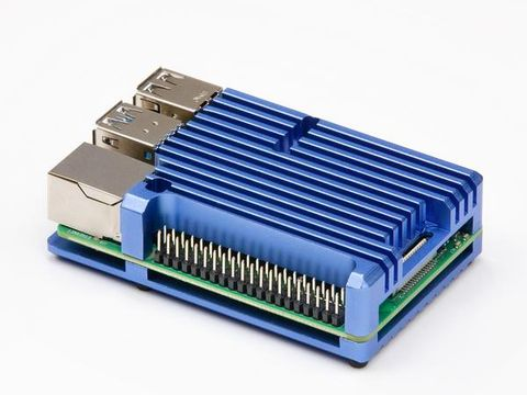 Aluminium Heatsink Case for Raspberry Pi 4 – Blue