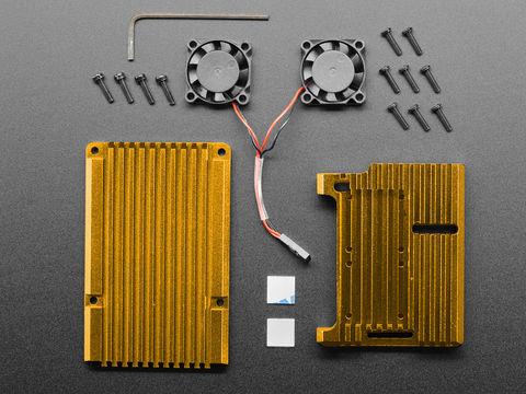 Raspberry Pi 4 Aluminum Case with Dual Fan - Gold