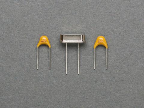 16MHz Crystal + 2 x 20 pF Ceramic Capacitors
