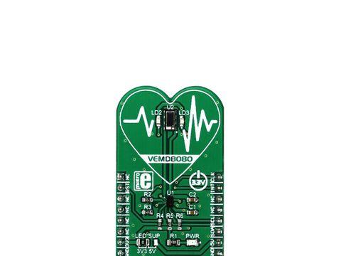 Mikroe Heart Rate 7 click - Heart Rate Monitoring (HRM) Sensor w/ VEMD8080 / AFE4404 / VLMTG1400