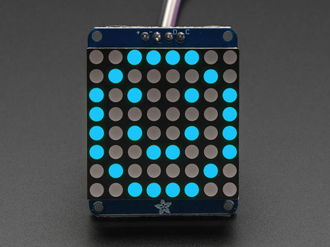 "Adafruit Small 1.2"" 8x8 LED Matrix w/I2C Backpack - Blue"