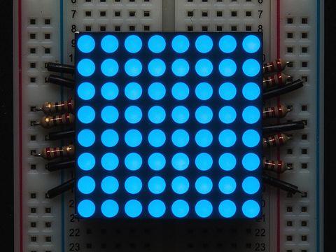 "Small 1.2"" 8x8 Ultra Bright Blue LED Matrix - KWM-30881CBB"