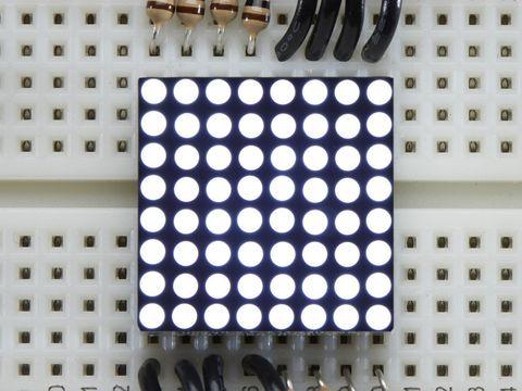 Miniature Ultra-Bright 8x8 White LED Matrix Display