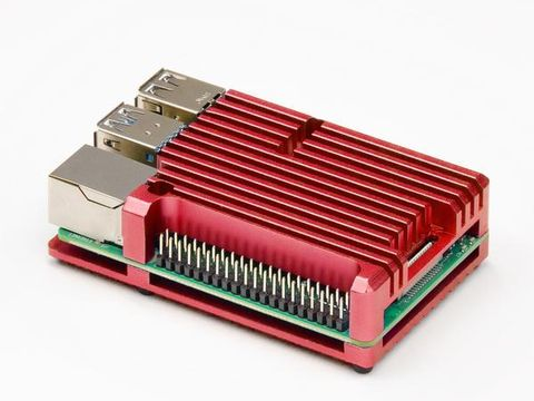 Aluminium Heatsink Case for Raspberry Pi 4 – Red