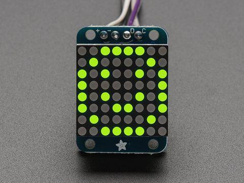 """Adafruit Mini 0.8"""" 8x8 LED Matrix w/I2C Backpack - Yellow-Green"""