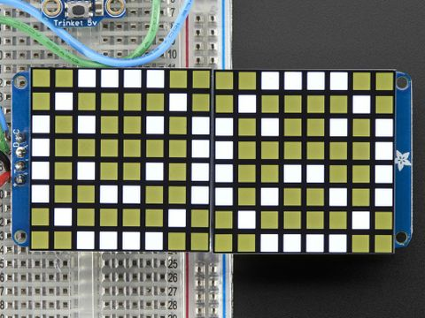 "16x8 1.2"" LED Matrix + Backpack - Ultra Bright Square White LEDs"