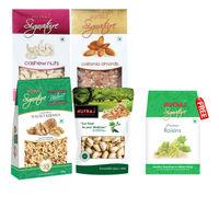 Nutraj Super Saver Pack 900g (Walnuts, Almonds, Cashews, Pista) - Raisins Free