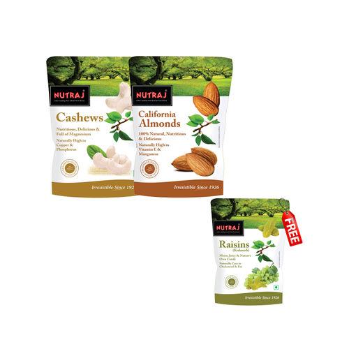 Nutraj Super Saver Pack 750g (Almonds+Cashews) - Raisins 250g Free