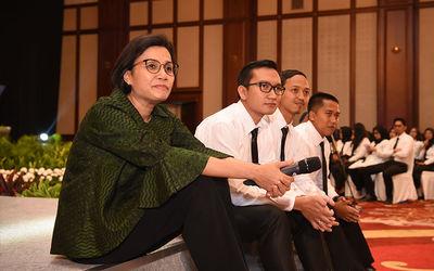 Menteri Keuangan Sri Mulyani Indrawati saat melakukan orientasi untuk PNS/ASN Kemenkeu. / Dok. Kemen...
