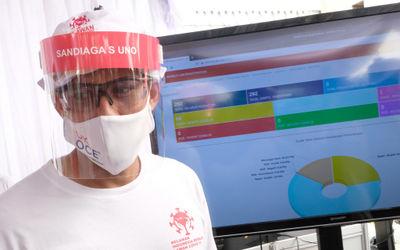 Ketua Relawan Indonesia Bersatu Lawan Covid-19 Sandiaga Uno meninjau langsung kegiatan Mobile Rapid ...