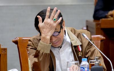 Menteri Hukum dan Hak Asasi Manusia (Menkumham), Yasonna Laoly pada Rapat Kerja dengan Komisi III DP...