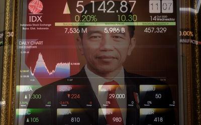 Layar pergerakan Indek Harga Saham Gabungan (IHSG) di Gedung Bursa Efek Indonesia (BEI), Jakarta, Ra...