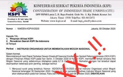 Surat palsu pembatalan aksi mogok nasional/ Sumber: KSPI\n