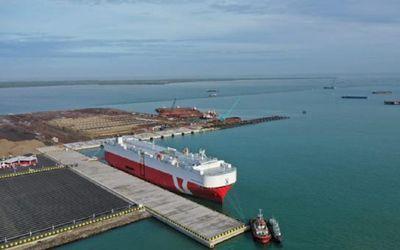 Pelabuhan Patimban di Subang, Jawa Barat yang baru diresmikan Presiden Joko Widodo / Dok. Kemenhub\n