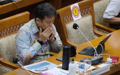 Menteri Kesehatan, Budi Gunadi hadir pada rapat kerja dengan Komisi IX DPR di kompleks Parlemen, Sen...