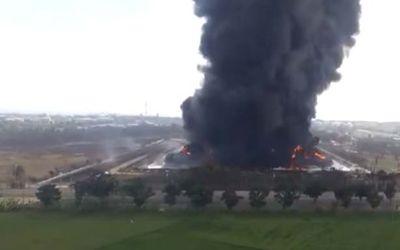Kebakaran di kilang minyak Balongan/Tangkapan Layar YouTube KompasTV\n