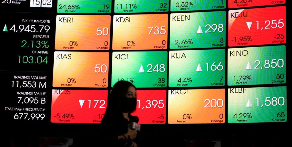 Awak media melakukan peliputan dengan latar belakang layar pergerakan Indeks Harga Saham Gabungan (IHSG) di Gedung Bursa Efek Indonesia (BEI), Jakarta, Jum'at, 25 September 2020. Indek Harga Saham Gabungan (IHSG) berhasil bangkit dan ditutup menguat 103,03 poin atau 2,13 persen ke posisi 4.945,79 pada hari ini, setelah empat hari beruntun parkir di zona merah.Penguatan indeks hari ini ditopang kenaikan saham-saham berkapitalisasi jumbo alias big caps. Foto: Ismail Pohan/TrenAsia\n