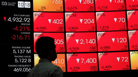 Awak media mengamati monitor pergerakan Indeks Harga Saham Gabungan (IHSG) di gedung Bursa Efek Indo...