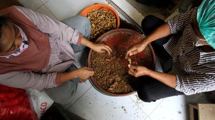 Pekerja menyelesaikan proses pembuatan produk olahan jahe di industri rumahan kawasan Bugel, Kota Ta...