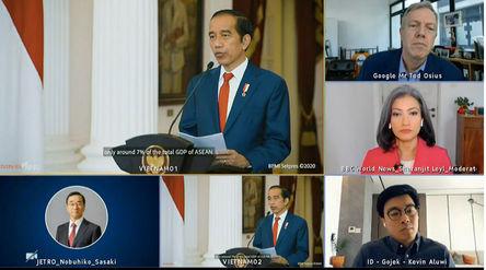 Tangkapan layar pidato Presiden Jokowi secara virtual pada ASEAN Business dan Investment Summit, di ...