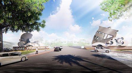 Rancangan ikon Gerbang Kapal sebagai pintu masuk ke Candi Borobudur dari arah Kulon Progo. /Dok Keme...