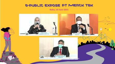 Jajaran direksi PT Merck Tbk (MERK) saat paparan publik di Jakarta, Rabu, 16 Juni 2021\n